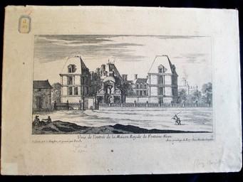 Veuë de l'entrée de la Maison Royale de Fontaine-Bleau : [estampe, vue] / Dessinée par I. Silvestre et gravée par Pérelle | Silvestre, Israël. Artiste