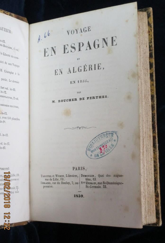 Voyage en Espagne et en Algérie, en 1855 / par M. Boucher de Perthes | Boucher de Perthes, Jacques (1788-1868). Auteur