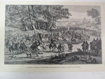 La Reine se rendant à Fontainebleau accompagnée de ses gardes; d'après Van der Meulen. : [estampe] / [Baudoins sc.] | Van der Meulen, Adam Frans (1632-1690). Artiste