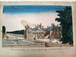 Vue perspective du Chateau Royale de Fontainnebleau [sic] : [estampe] / [Anonyme] | [Anonyme]. Graveur