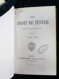 Du Droit de tester, par M. E. de Cornulier. Troisième édition | Cornulier-Lucinière, Ernest de (1804-1893). Auteur