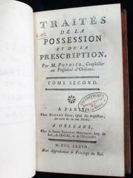 Traités de la possession et de la prescription. Par M. Pothier,.... Tome second | Pothier, Robert-Joseph (1699-1772). Auteur