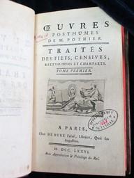 Oeuvres posthumes de M. Pothier. Traités des fiefs, censives, relevoisons et champarts | Pothier, Robert-Joseph (1699-1772). Auteur