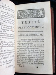 Oeuvres posthumes de M. Pothier, dédiées à Monseigneur le Garde des Sceaux de France. Tome quatrième, contenant le Traité des successions | Pothier, Robert-Joseph (1699-1772). Auteur