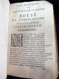 Anicii Manlii Severini Boetii De Consolatione philosophiae libri quinque. Joh. Bernartius recensuit, & commentario illustravit | Boèce (0480?-0524). Auteur