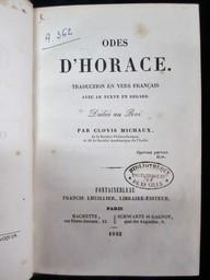 Odes d'Horace : Traduction en vers français avec le texte en regard. Dédiée au Roi, par Clovis Michaux... | Horatius Flaccus, Quintus. Auteur