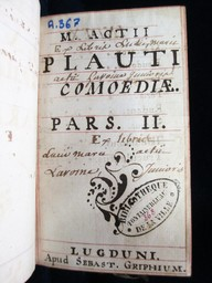 M. Actii Plauti comoediae. Pars II | Plaute (0254-0184 av. J.-C.). Auteur