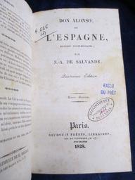 Don Alonso, ou l'Espagne, histoire contemporaine, par N.-A. de Salvandy. Quatrième édition. Tome premier [-quatrième]   Salvandy, Narcisse-Achille de (1795-1856). Auteur