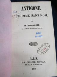 Antigone : L'homme sans nom / Par M. Ballanche,... | Ballanche, Pierre-Simon (1776-1847). Auteur