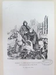 Edith reconnaît le corps du roi Harold = Edith recognise [sic] the body of King Herold : [estampe] / Lucien Berthault   Berthault, Claude Alexandre Lucien (1854 - 1921). Graveur