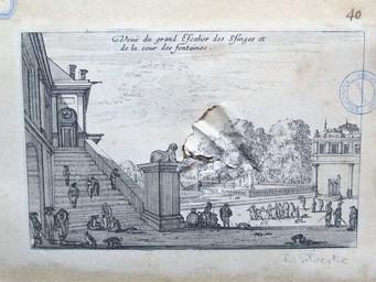 Veuë du grand Escalier des Sfinges [sic] et de la cour des Fontaines : [estampe, vue] / [Israël Silvestre] | Silvestre, Israël. Artiste. Graveur